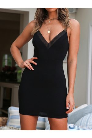 YOINS Sexy Black Mesh V-neck Spaghetti Strap Sleeveless Mini Dress