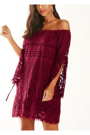 YOINS Crochet Lace Off The Shoulder Long Sleeves Dress