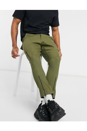 ASOS Skinny trousers with multi zips in green