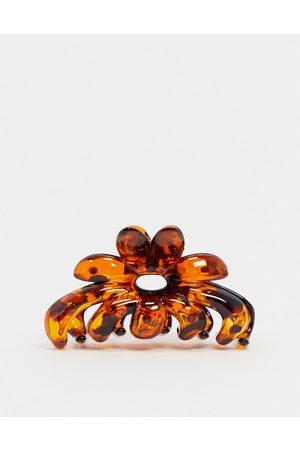 ASOS Hair clip claw in tortoiseshell flower design