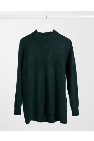 Selected Femme jumper with high neck in brushed knit in green