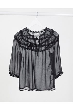 JDY Sheer top with ruffle detail in black