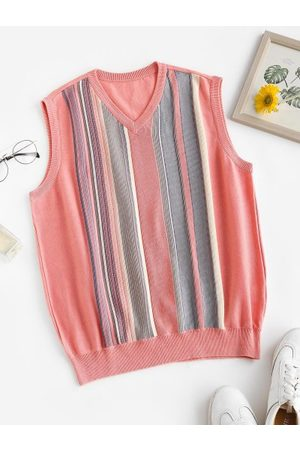 Zaful Striped V Neck Knit Sweater Vest