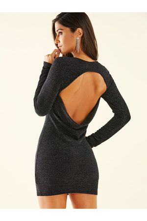YOINS Silver Knit Backless Design Round Neck Long Sleeves Dress
