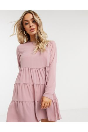 Missguided Tiered smock dress with long sleeves in blush