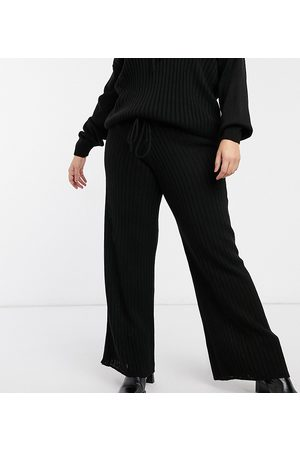 In The Style X Lorna Luxe lullaby ribbed wide leg trouser co ord in black