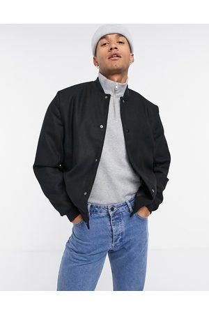 ASOS Wool mix varsity jacket in black