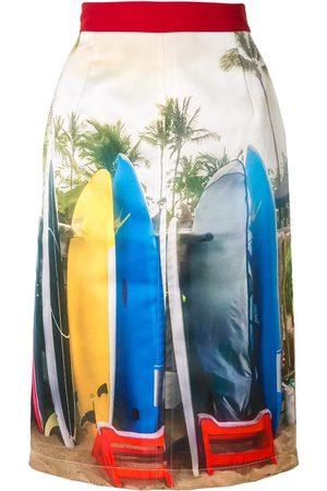 Nº21 Mujer De tubo - Falda tubo con estampado de surf