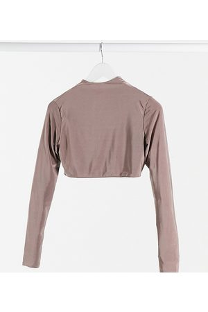 Club L Club L London Maternity slinky long sleeve top in taupe