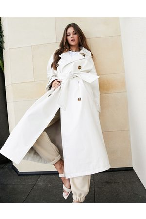 ASOS Croc vinyl trench coat in white
