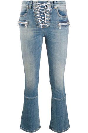 Unravel Project Jeans capri con agujetas