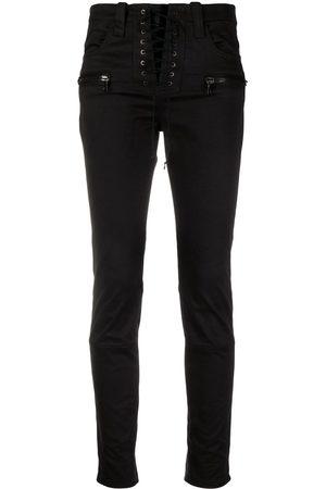 Unravel Project Jeans capri con detalle de agujetas