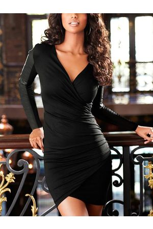 YOINS Faux Leather Patchwork Ruched V-neck Long sleeves Dress