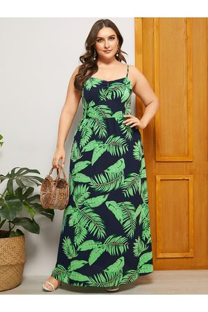 YOINS Plus Size Navy Backless Design Print Square Neck Sleeveless Dress