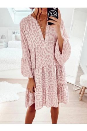 YOINS Casual Leopard Print Ruffle V-neck Long Sleeves Midi Dress