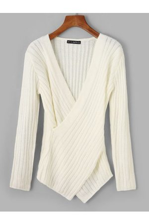 Zaful Solid Criss Cross V Neck Sweater