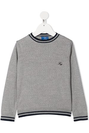 FAY KIDS Embroidered logo crew-neck jumper