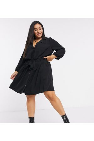 ASOS ASOS DESIGN Curve button through ruched waist mini dress in black