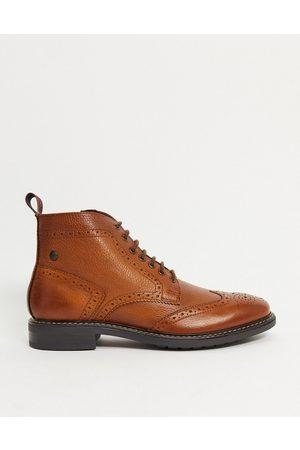 Base London Berkley brogue boots in tan leather