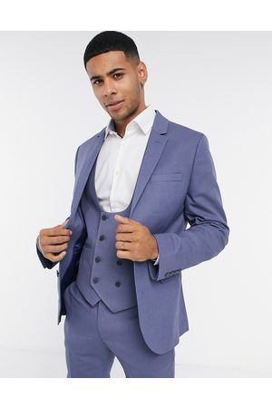ASOS Wedding super skinny suit jacket with micro texture in mid blue