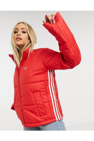adidas Short length padded jacket in red