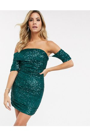 Club L Fallen shoulder bardot sequin mini dress in green