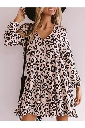YOINS Casual Leopard Round Neck Front Button Ruffle Long sleeves Dress