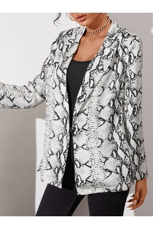 YOINS White Snakeskin Lapel Collar Long Sleeves Blazer