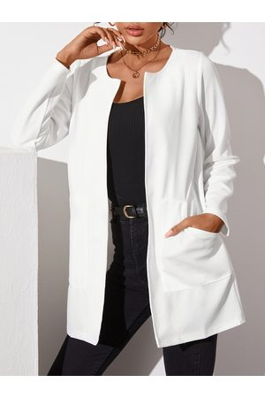 YOINS Two Large Pockets Crew Neck Long Sleeves Coat