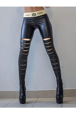 YOINS Mujer Leggings y treggings - Sexy Cut Out Random Ripped Details Faux Leather Leggings