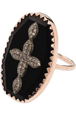 Pascale Monvoisin Anillo Bowie No 2 con detalle de cruz en oro rosa de 9kt con diamantes
