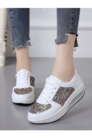 YOINS Sequins Wedges Sports Sneakers