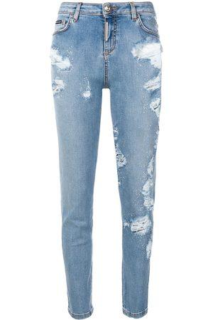 Philipp Plein Mujer Skinny - Jeans slim con efecto envejecido