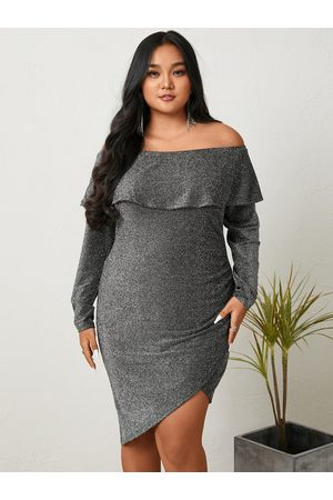 YOINS Plus Size Off The Shoulder Tiered Design Glitter Long Sleeves Mini Dress