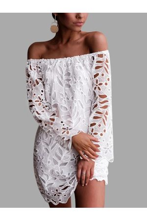 YOINS Mujer Maxi - White Lace Off The Shoulder Long Sleeves Dress