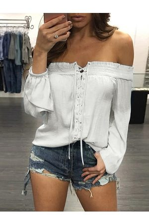 YOINS Shirring Criss-cross Off The Shoulder Long Sleeves Blouse