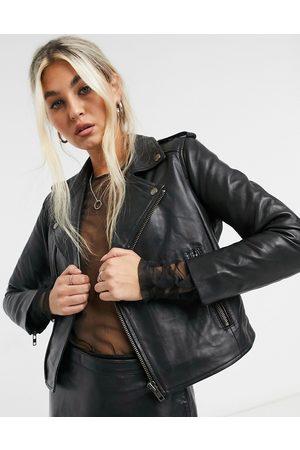 Muubaa Cropped leather biker jacket in black