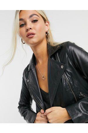 Muubaa Classic leather biker jacket in black