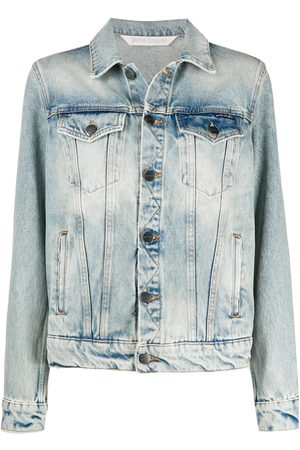 Palm Angels Mujer De mezclilla - OVER LOGO DENIM JACKET LIGHT BLUE WHITE