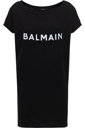Balmain Vestido Corto De Punto De Algodón Con Logo