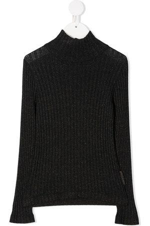 Brunello Cucinelli Kids Suéter tejido metalizado de canalé