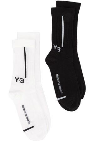 Y-3 Pack de dos pares de calcetines con logo en intarsia