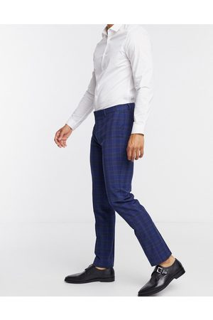 Shelby & Sons Slim suit trousers in navy check