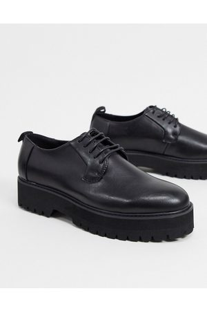 ASOS Lace up shoes in black faux leather on raised chunky sole