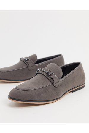 ASOS Loafers in grey faux suede with snaffle detail