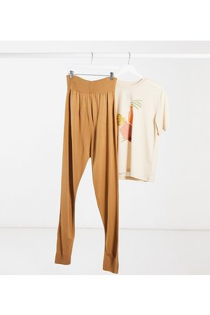 Fashionkilla Knitted rib jogger in camel