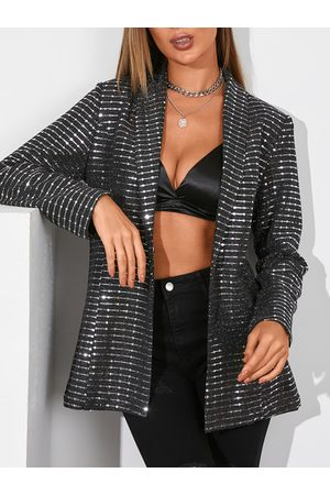 YOINS Mujer Sacos - Black Glitter Sequins Embellished Lapel Collar Long Sleeves Blazer
