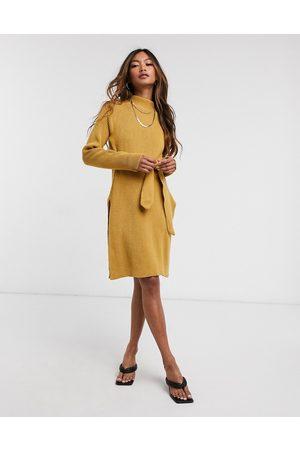 Unique 21 Roll neck mini jumper dress in camel