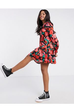 ASOS Mini button through collared pep hem tea dress in red floral print