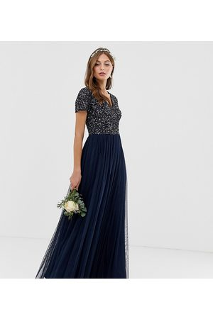 Maya Bridesmaid v neck maxi tulle dress with tonal delicate sequins in navy